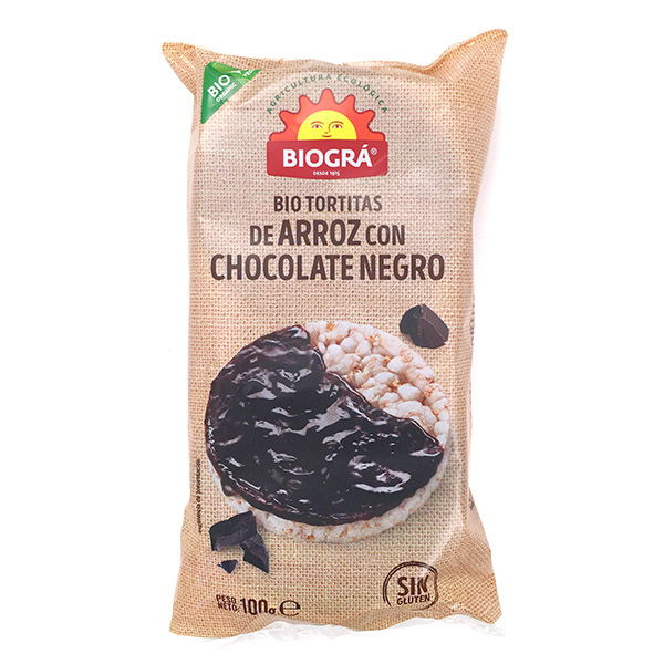 Tortitas de ARROZ con CHOCOLATE NEGRO bio (100 gr.)