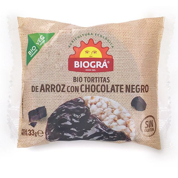 Tortitas de ARROZ con CHOCOLATE NEGRO bio (33 gr.)
