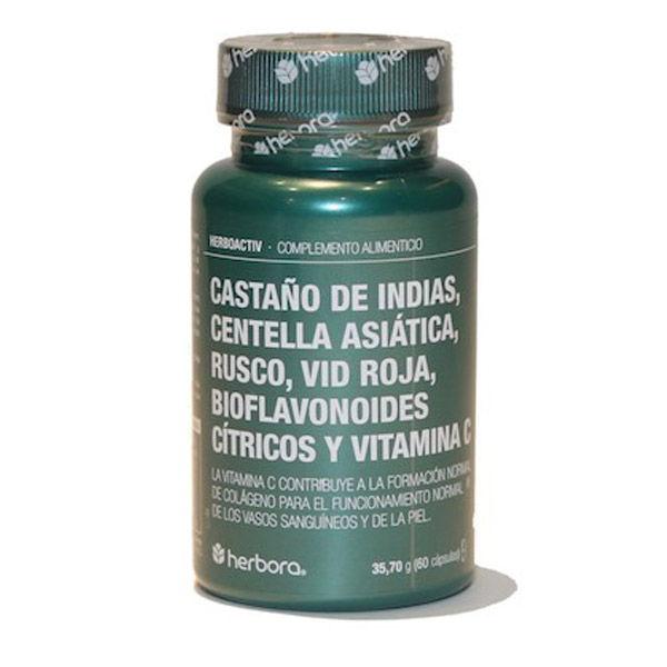 HERBOACTIV-Castaño de indias, Centella Asiática, Rusco... (60 cápsulas)